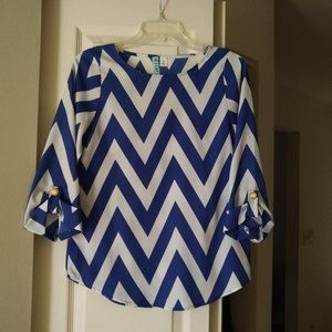 Dina Be Blue and White Chevron Print Blouse - S